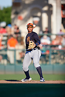 Detroit Tigers shortstop Wenceel Perez (76) throws to first base during a Grapefruit League Spring Training game against the Baltimore Orioles on March 3, 2019 at Ed Smith Stadium in Sarasota, Florida.  Baltimore defeated Detroit 7-5.  (Mike Janes/Four Seam Images)