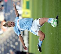 Chicago Red Star defender Nikki Krzysik (23) kicks the ball.  The Sky Blue FC defeated the Chicago Red Stars 2-0 at Toyota Park in Bridgeview, IL on May 10, 2009.