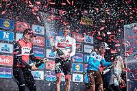 Champagne Shower podium:<br /> <br /> 1st place Alexander Kristoff (NOR/UAE)<br /> 2nd place John Degenkolb (GER/Trek Segafredo)<br /> 3th place Oliver Naesen (BEL/AG2R La Mondiale)<br /> <br /> 82nd Gent – Wevelgem in Flanders Fields 2019 (1.UWT)<br /> Deinze – Wevelgem: 251,5km<br /> ©kramon