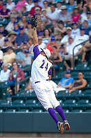 First baseman Seth Loman #24 of the Winston-Salem Dash leaps for a high throw against the Salem Red Sox at  BB&T Ballpark June 27, 2010, in Winston-Salem, North Carolina.  Photo by Brian Westerholt / Four Seam Images
