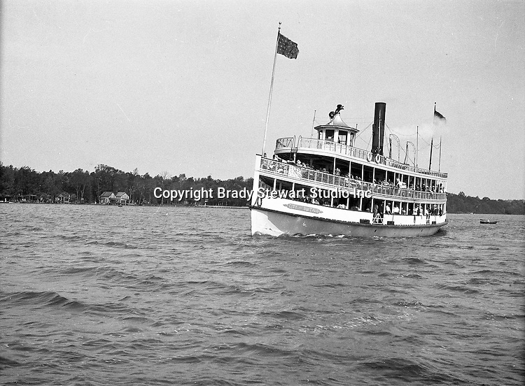 Lake Chautauqua NY:  City of Buffalo Ferry arriving at the Bemus Point Pier. Photographs were taken during a church field trip to Chautauqua Institution in New York (Lake Chautauqua). The Stewart family and friends visited Chautauqua during 1901 to hear Stewart's relative, Dr. S.H. Clark speak at the institute. Alice Brady Stewart chaperoned and Brady Stewart came along to photograph the trip.  The Gallery provides a glimpse of how the privileged and church faithful spent summers at Lake Chautauqua at the turn of the century.