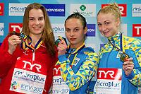 (L to R) Michelle HEIMBERG SUI Silver Medal, Anna PYSMENSKA UKR Gold medal; Anastasiia NEDOBIGA UKR Bronze medal<br /> 3m. springboard women <br /> LEN European Diving Championships 2017<br /> Sport Center LIKO, Kiev UKR<br /> Jun 12 - 18, 2017<br /> Day04 15-06-2017<br /> Photo © Giorgio Scala/Deepbluemedia/Insidefoto