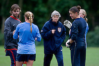 USWNT head coach Pia Sundhage crosses the field during practice in Chester, PA.  The USWNT will take on China, in an international friendly at PPL Park, on October 6.