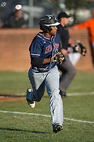Justice Middleton (9) of the Mallard Creek Mavericks hustles down the first base line against the Glenn Bobcats at Dale Ijames Stadium on March 22, 2017 in Kernersville, North Carolina.  The Bobcats defeated the Mavericks 12-2 in 5 innings.  (Brian Westerholt/Four Seam Images)