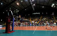 BOGOTÁ-COLOMBIA, 07-01-2020: Paula Nizetich y Julieta Lezcano de Argentina, intentan un bloqueo al ataque de balón, a Angela Leyva de Perú, durante partido entre Argentina y Perú, en el Preolímpico Suramericano de Voleibol, clasificatorio a los Juegos Olímpicos Tokio 2020, jugado en el Coliseo del Salitre en la ciudad de Bogotá del 7 al 9 de enero de 2020. / Paula Nizetich and Julieta Lezcano from Argentina, try to block the attack the ball, to Angela Leyva from Perú, during a match between Argentina and Peru, in the South American Volleyball Pre-Olympic Championship, qualifier for the Tokyo 2020 Olympic Games, played in the Colosseum El Salitre in Bogota city, from January 7 to 9, 2020. Photo: VizzorImage / Luis Ramírez / Staff.