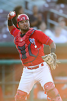 Carlos Ramirez #3 of the Inland Empire 66'ers throws to first base during game against the Modesto Nuts at Arrowhead Credit Union Park in San Bernardino,California on May 30, 2011. Photo by Larry Goren/Four Seam Images