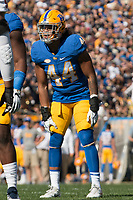 Pitt linebacker Elias Reynolds. The North Carolina Wolfpack defeated the Pitt Panthers 35-17 at Heinz Field, Pittsburgh, PA on October 14, 2017.