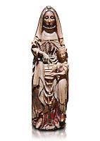 Gothic alabaster statue of Saint Anne and the Virgin Mary as a child from the Nottingham School England, 15th Century, from the cemetery of the vall de Bertizana, Nivarra.  National Museum of Catalan Art, Barcelona, Spain, inv no: MNAC  4353. Against a white background.