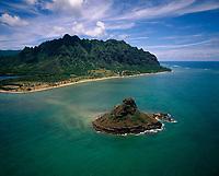 Chinaman's Hat or Mokolii Island, Aerial View, Oahu, Hawaii, USA.