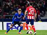 Viktor Fischer (L) of FC Copenhague tackles Juan Francisco Torres Belen, Juanfran, of Atletico de Madrid during the UEFA Europa League 2017-18 Round of 32 (2nd leg) match between Atletico de Madrid and FC Copenhague at Wanda Metropolitano  on February 22 2018 in Madrid, Spain. Photo by Diego Souto / Power Sport Images