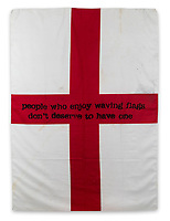 BNPS.co.uk (01202558833)<br /> Pic: ForumAuctions/BNPS<br /> <br /> A St George's flag which has been spray-painted by Banksy has emerged for sale for £300,000.<br /> <br /> The street artist emblazoned the 52ins by 37ins flag with the controversial message 'people who enjoy waving flags don't deserve to have one'.<br /> <br /> The artwork is believed to date from circa 2003, with a label on its back indicating it was displayed at the Lazarides Gallery, a London venue run by Steve Lazarides, Banksy's former photographer and agent.<br /> <br /> The flag was acquired by a British private collector several years ago and is now going under the hammer with London-based Forum Auctions.