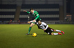 St Mirren 4 The New Saints 1, 19/02/2017. Paisley 2021 Stadium, Scottish Challenge Cup. The home team's Stelios Demetriou attempts to stop an opponent during the second-half at the Paisley2021 Stadium as Scottish Championship side St Mirren (in white) played Welsh champions The New Saints in the semi-final of the Scottish Challenge Cup for the right to meet Dundee United in the final. The competition was expanded for the 2016-17 season to include four clubs from Wales and Northern Ireland as well as Scottish Premier under-20 teams. Despite trailing at half-time, St Mirren won the match 4-1 watched by a crowd of 2044, including 75 away fans. Photo by Colin McPherson.