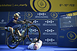 Vittorio Brumotti uses Anthony McCrossan as a prop at sign on before the start of Stage 3 The Silicon Oasis Stage of the Dubai Tour 2018 the Dubai Tour's 5th edition, running 180km from Skydive Dubai to Fujairah, Dubai, United Arab Emirates. 7th February 2018.<br /> Picture: LaPresse/Fabio Ferrari   Cyclefile<br /> <br /> <br /> All photos usage must carry mandatory copyright credit (© Cyclefile   LaPresse/Fabio Ferrari)