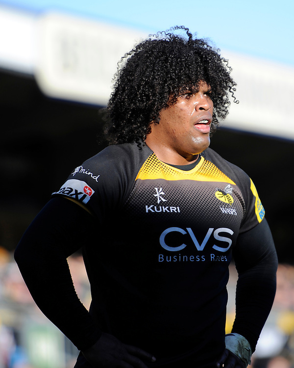 Ashley Johnson of London Wasps looks on during the Aviva Premiership match between London Wasps and Sale Sharks at Adams Park on Saturday 1st March 2014 (Photo by Rob Munro)