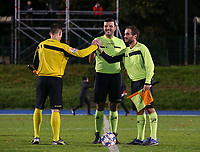Assistant referee Shkumbin Raci, referee Virgil Ifrim and assistant referee Daniele Dosi pictured during a female soccer game between FC Femina White Star Woluwe and Eendracht Aalst on the sixth matchday of the 2020 - 2021 season of Belgian Scooore Womens Super League , friday 6 th of November 2020  in Woluwe , Belgium . PHOTO SPORTPIX.BE | SPP | SEVIL OKTEM