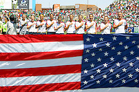 USA starting eleven with flag prior to the USA's 3-1 win vs Mexico in Group A of the 2008 CONCACAF Olympic Women's Qualifying Tournament  in Ciudad Juarez, Mexico, April 6, 2008.