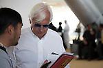 DUBAI,UNITED ARAB EMIRATES-MARCH 22: Bob Baffert, the trainer of Arrogate (Dubai World Cup) ,is interviewed before Post Position Draw at Meydan racecourse on March 22,2017 in Dubai,United Arab Emirates (Photo by Kaz Ishida/Eclipse Sportswire/Getty Images)