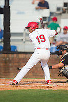 Edmundo Sosa (19) of the Johnson City Cardinals at bat against the Bristol Pirates at Howard Johnson Field at Cardinal Park on July 6, 2015 in Johnson City, Tennessee.  The Pirates defeated the Cardinals 2-0 in game one of a double-header. (Brian Westerholt/Four Seam Images)