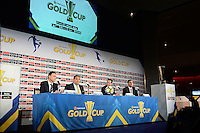 Santa Clara, CA - Tuesday, March 07, 2017: CONCACAF General Secretary, Philippe Moggio, CONCACAF President, Victor Montagliani, Al Guido, Dave Kaval during the unveiling of the CONCACAF 2017 Gold Cup Groups & Schedule at Levi's Stadium.
