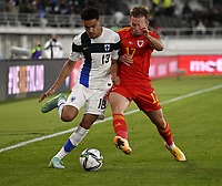 September 1st 2021: Helsinki, Finland;  Finlands Pyry Soiri L and Rhys Norrington-Davies of Wales fight for the ball during the International Friendly, Finland versus Wales at the Helsinki Olympic Stadium