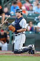 Columbus Clippers Catcher Lou Marson (2) during a game vs. the Rochester Red Wings at Frontier Field in Rochester, New York;  June 21, 2010.   Rochester defeated Columbus 2-1.  Photo By Mike Janes/Four Seam Images