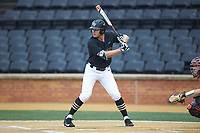 Michael Ludowig (22) of the Wake Forest Demon Deacons at bat against the Virginia Cavaliers at David F. Couch Ballpark on May 18, 2018 in  Winston-Salem, North Carolina.  The Cavaliers defeated the Demon Deacons 15-3.  (Brian Westerholt/Four Seam Images)