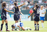 LA Sol players Han Duan (l), Shannon Boxx (c) and Marta (r) look at the ref for a call as Boston Breakers Angela Hucles lies on ground. The Boston Breakers and LA Sol played to a 0-0 draw at Home Depot Center stadium in Carson, California on Sunday May 10, 2009.   .