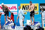 Takuro Fujii (JPN),<br /> JULY 28, 2013 - Swimming : Takuro Fujii (R) of team Japan in the men's 4x100m freestyle final during the World Swimming Championships at the Sant Jordi arena in Barcelona, Spain.<br /> (Photo by Daisuke Nakashima/AFLO)