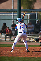 Alexander Forry (13) of Livonia Franklin in Livonia, Michigan during the Baseball Factory All-America Pre-Season Tournament, powered by Under Armour, on January 14, 2018 at Sloan Park Complex in Mesa, Arizona.  (Zachary Lucy/Four Seam Images)