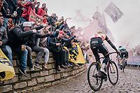 Belgian champion Oliver Naesen (BEL/AG2R-LaMondiale) cheered up the Kapelmuur /Muur van Geraardsbergen<br /> <br /> 102nd Ronde van Vlaanderen 2018 (1.UWT)<br /> Antwerpen - Oudenaarde (BEL): 265km