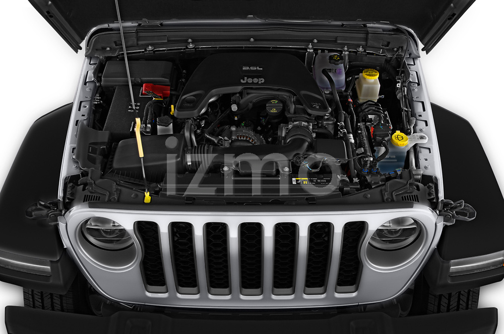 Car Stock 2020 JEEP Gladiator Sport-S 4 Door Pick-up Engine  high angle detail view