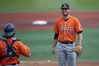 UTSA Roadrunners relief pitcher Luke Malone (34) is all smiles after closing out the win over the Charlotte 49ers at Hayes Stadium on April 18, 2021 in Charlotte, North Carolina. (Brian Westerholt/Four Seam Images)