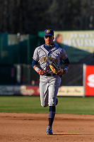 Burlington Bees outfielder Jordyn Adams (2) jogs in from the outfield between innings during a Midwest League game against the Wisconsin Timber Rattlers on April 26, 2019 at Fox Cities Stadium in Appleton, Wisconsin. Wisconsin defeated Burlington 2-0. (Brad Krause/Four Seam Images)