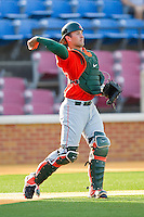 Catcher Shane Rowland #24 of the Miami Hurricanes throws the ball back to his pitcher during the game against the Wake Forest Demon Deacons at Gene Hooks Field on March 19, 2011 in Winston-Salem, North Carolina.  Photo by Brian Westerholt / Four Seam Images