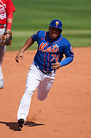 New York Mets Wilfredo Tovar (72) running the bases during a Major League Spring Training game against the St. Louis Cardinals on March 19, 2021 at Clover Park in St. Lucie, Florida.  (Mike Janes/Four Seam Images)