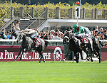 Dalkala (no. 1), ridden by Christophe Soumillon and trained by A. de Royer Dupre, wins the group 1 Prix de l'Opera for fillies and mares three years old and upward on October 6, 2013 at Longchamp Racecourse in Paris, France.  (Bob Mayberger/Eclipse Sportswire)