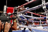"""SAN LUIS POTOSÍ - MÉXICO. 16-11-2013. Aspecto de la pelea entre el colombiano José Carmona (en la foto) y el mexicano Jorge """"travieso"""" Arce en donde el primero perdió por KO y que le produjo un hematoma por el cual fue intervenido de urgencia e inducido acoma precventivo. La pelea se realizo en San Luis Potosí en México./ Aspecto of the fight between colombian boxer Jose Carmona (in the picture) and Jorge """"Travieso"""" Arce where the first lost by KO and finished with hematoma in the head; he was operated and induced to preventative coma. The fight was made in San Luis Potosi, Mexico Photo: VizzorImage/ Jam Media/CONT"""
