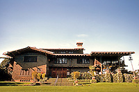 Greene & Greene: Gamble House, Frontal elevation. 28MM wide angle.  Photo '87.