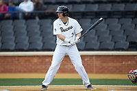 Bobby Seymour (3) of the Wake Forest Demon Deacons at bat against the Sacred Heart Pioneers at David F. Couch Ballpark on February 15, 2019 in  Winston-Salem, North Carolina.  The Demon Deacons defeated the Pioneers 14-1. (Brian Westerholt/Four Seam Images)