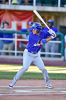 Mitchell Hansen (43) of the Ogden Raptors at bat against the Orem Owlz in Pioneer League action at Home of the Owlz on June 25, 2016 in Orem, Utah. Orem defeated Ogden 4-1.  (Stephen Smith/Four Seam Images)
