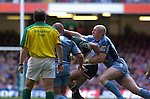 Cardiff Blues v Leicester Tigers - Heineken Cup Semi-Final at the Millennium Stadium in Cardiff..Cardiff's Tom Shanklin putting in a tackle..