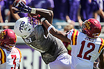 TCU Horned Frogs wide receiver Emanuel Porter (1) in action during the game between Iowa State Cyclones and the TCU Horned Frogs at the Amon G. Carter Stadium in Fort Worth, Texas.
