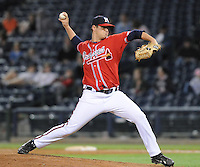 12 April 2008: RHP Brad Nelson (48) of the Mississippi Braves, Class AA affiliate of the Atlanta Braves, in a game against the Mobile BayBears at Trustmark Park in Pearl, Miss. Photo by:  Tom Priddy/Four Seam Images