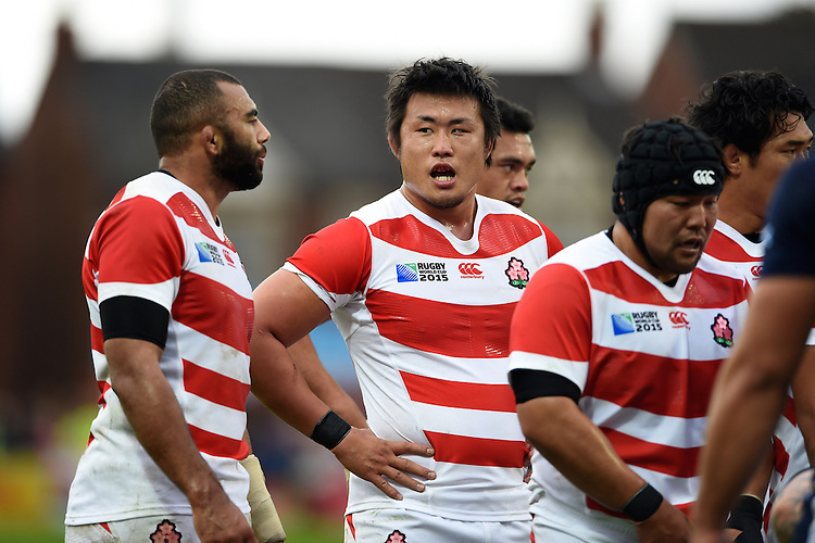 Shinya Makabe of Japan looks on during a break in play. Rugby World Cup Pool B match between Scotland and Japan on September 23, 2015 at Kingsholm Stadium in Gloucester, England. Photo by: Patrick Khachfe / Stewart Communications