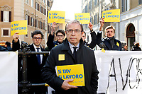 Mimmo Giachino, organizer of the demonstration<br /> Rome February 21st 2019. Montecitorio. Demonstration YES TAV (TAV is special-purpose entity owned by RFI (itself owned by Ferrovie dello Stato) for the planning and construction of a high-speed rail network in Italy).<br /> Foto Samantha Zucchi Insidefoto