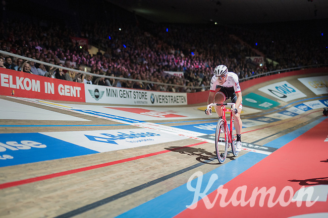 Edward Theuns (BEL/Trek-Segafredo) returning to 'racing' after his horrible crash in The Tour de France<br /> <br /> Ciao Fabian<br /> <br /> Farewell event in 't Kuipke in Gent/Belgium for Fabian Cancellara after retiring for pro racing (november 2016)