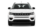 Car photography straight front view of a 2018 Jeep Compass Sport 5 Door SUV