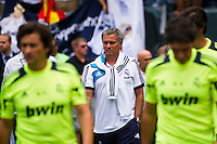 Real Madrid manager Jose Mourinho takes the field for warmups prior to playing Celtic F. C. during a 2012 Herbalife World Football Challenge match at Lincoln Financial Field in Philadelphia, PA, on August 11, 2012.