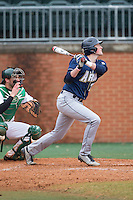 James Meeker III (37) of the Akron Zips follows through on his swing against the Charlotte 49ers at Hayes Stadium on February 22, 2015 in Charlotte, North Carolina.  The Zips defeated the 49ers 5-4.  (Brian Westerholt/Four Seam Images)