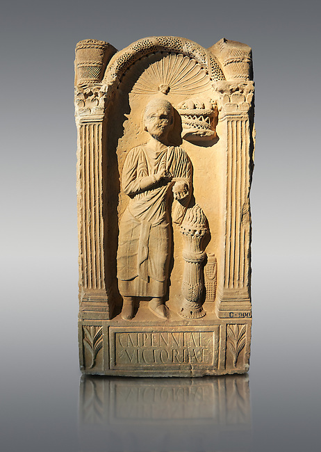 Second century AD Roman funerary Stele dedicated to Caipenniae Victoriae from  Africa Proconsularis , present day Tunisia. The Bardo National Museum, Tunis, Tunisia .   Against a grey background.
